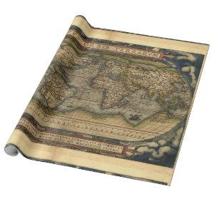Antique Vintage World Map Atlas Decorative Roll Wrapping Paper