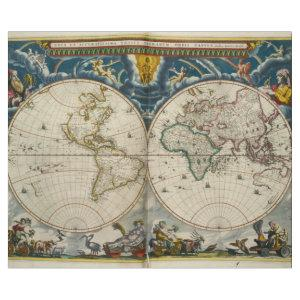 Antique World Map - Blaeu, Joan 1664 Wrapping Paper