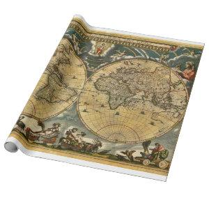Antique World Map J. Blaeu 1664 Wrapping Paper