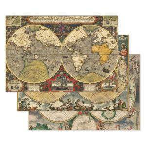 Antique World Maps Wrapping Paper Sheets