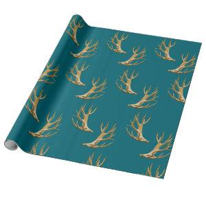 Antlers Pattern Dark Teal Blue Masculine Gift Wrapping Paper