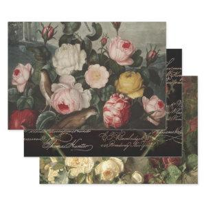 ANTQUE ROSES HEAVY WEIGHT DECOUPAGE PRINTS WRAPPING PAPER SHEETS