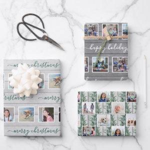 Any Text 12 Photo Collage Farmhouse Wood Christmas Wrapping Paper Sheets