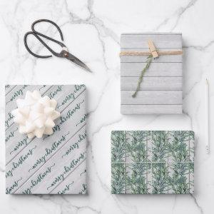 Any Text Typography Wood Pine Farmhouse Christmas Wrapping Paper Sheets