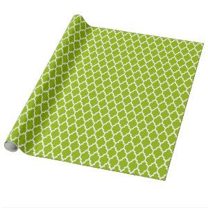 Apple Green White Moroccan Quatrefoil Pattern #4 Wrapping Paper