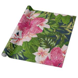 Apricot Barbie Pink Floral Leaves Wrapping Paper