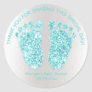 Aqua Glitter Feet Baby Shower Favor Thank Classic Round Sticker
