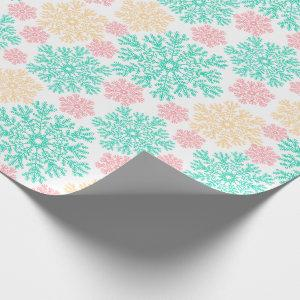 Aqua Pink and Gold Snowflakes Pattern Wrapping Paper