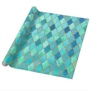 Aqua Teal Mint Gold Oriental Moroccan Tile pattern Wrapping Paper