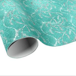 Aqua Tiffany Mint Laurel Floral Silver Diamonds Wrapping Paper