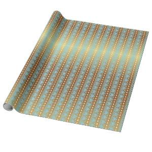 Aquatic Blue and Gold Meander Stripes Wrapping Paper