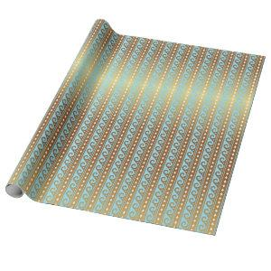 Aquatic Blue and Gold Waves Stripes Wrapping Paper
