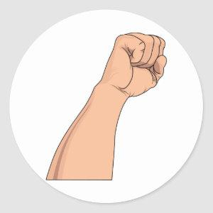 Arm Raised Clenched Fist Pump Classic Round Sticker