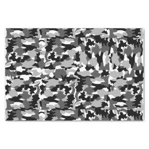 Army camouflage black and white pattern tissue paper