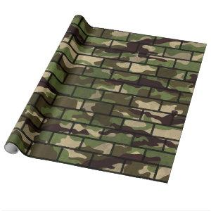 Army Camouflage Brick Wall Wrapping Paper