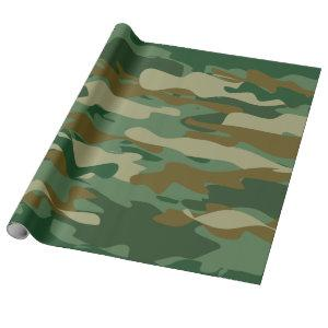 Army green camouflage Birthday wrapping paper