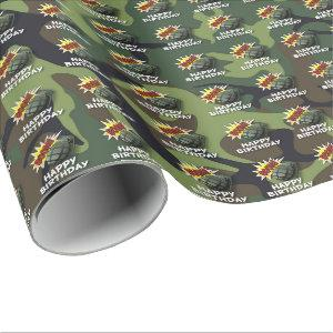 ARMY MILITARY BIRTHDAY WRAPPING PAPER | GRENADE