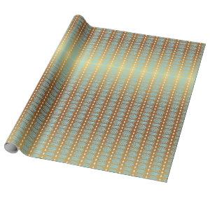 Art Deco Aquamarine Blue and Gold Stripes Wrapping Paper