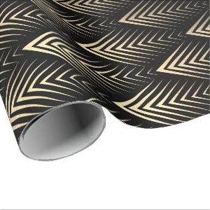 Art Deco Black Gold Sepia Scales Geometry Wrapping Paper