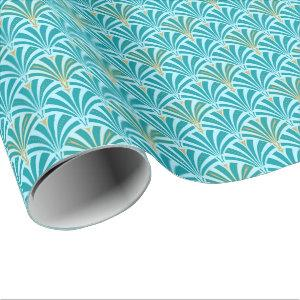 Art Deco fan pattern - turquoise on aqua Wrapping Paper
