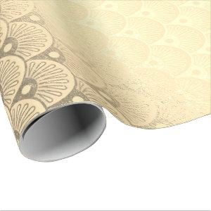 Art Deco Geometric Seashells Gold Foxier Wrapping Paper