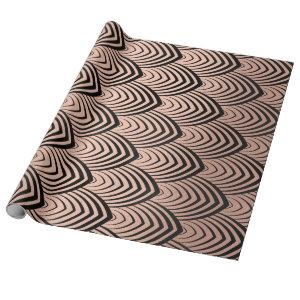Art Deco Rose Gold Black Scales Seashells Wrapping Paper