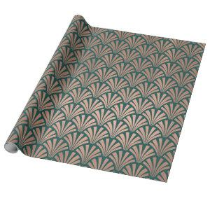 Art Deco Seashells Scales Rose Gold Copper Teal Wrapping Paper