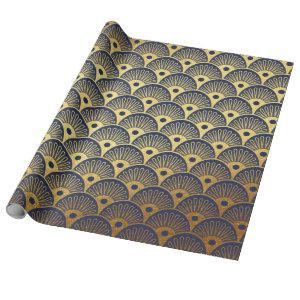 Art Deco Seashells Waves Navy Blue Vip Yacht Wrapping Paper