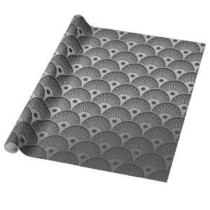 Art Deco Seashells Waves Silver Gray Vip Yacht Wrapping Paper