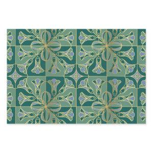 Art Deco Tile Floral. Green, Blue and Gold Wrapping Paper Sheets