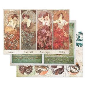 ART NOUVEAU COLLECTIONS #3 HEAVY WEIGHT DECOUPAGE WRAPPING PAPER SHEETS
