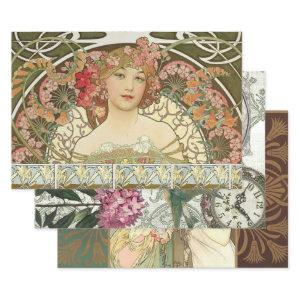 ART NOUVEAU LADIES #1 HEAVY WEIGHT DECOUPAGE WRAPP WRAPPING PAPER SHEETS