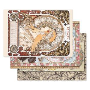 ART NOUVEAU LADIES #2 HEAVY WEIGHT DECOUPAGE WRAPPING PAPER SHEETS
