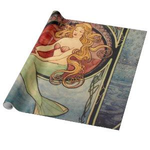 Art Nouveau Mermaid Decoupage Poster Wrapping Paper
