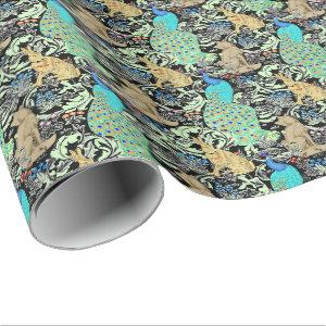 Art Nouveau Peacock Print, Turquoise & Neutrals Wrapping Paper