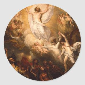 Ascension of Christ with Angels Classic Round Sticker
