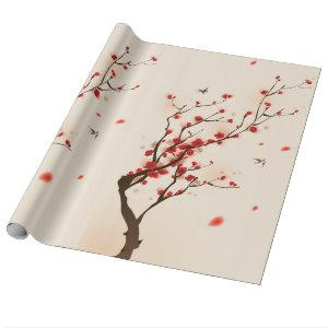 Asian Style Painting, Plum Blossom in Spring Wrapping Paper