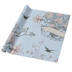 Asian Style Pink Lilies and Roses on Blue Wrapping Paper