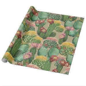 Assorted Blooming Cactus Plants Wrapping Paper