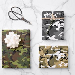 Assorted Camouflage Wrapping Paper Sheets