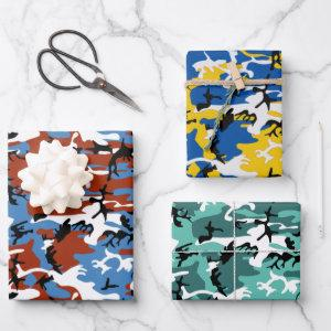 Assorted Colorful Camo Wrapping Paper Sheets