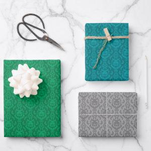 Assorted Damask Pattern Wrapping Paper Sheets
