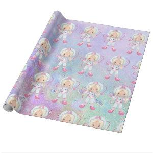 Astronaut girl  Outer Space Wrapping Paper