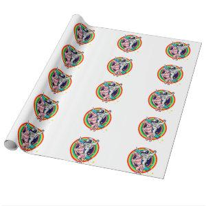 Astronaut riding a unicorn wrapping paper