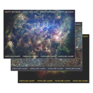 Astronomy custom text birthday wrapping paper sheets