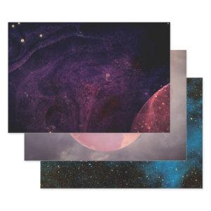 Astronomy New Age Celestial Planets Galaxy Wrapping Paper Sheets