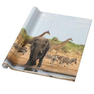 At the waterhole wrapping paper