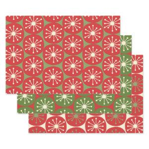 Atomic Age Retro Dots in Christmas Green Red Cream  Sheets