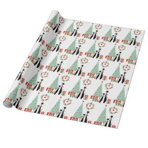 Atomic Era MCM Cool Cat Christmas Tree Wrapping Paper