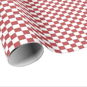 Aurora Red and White Checkered Wrapping Paper